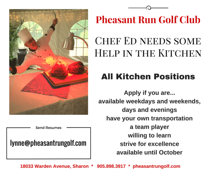 Chef Ed Needs help in the kitchen